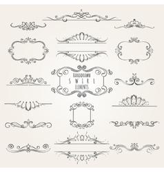 Hand drawn Swirl Element Set vector image