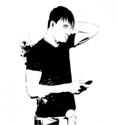 handsome guy on phone vector image vector image