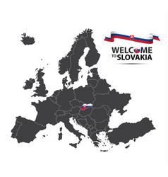 map of europe with the state of slovakia vector image