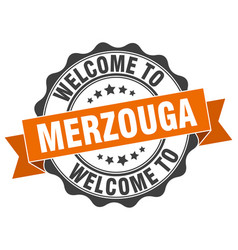 merzouga round ribbon seal vector image vector image