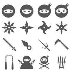 Ninja samurai and weapons icons set vector image