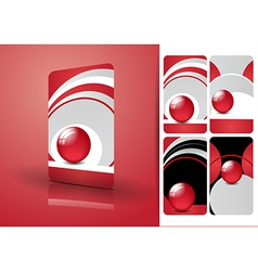 Red business cards set vector image