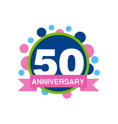 50th anniversary colored logo design happy vector