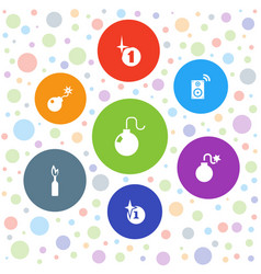 7 boom icons vector