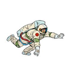 A happy astronaut flies in weightlessness vector