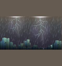 A thunderstorm storm urban scene vector