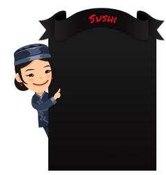 Asian female chef looking at blank menu vector