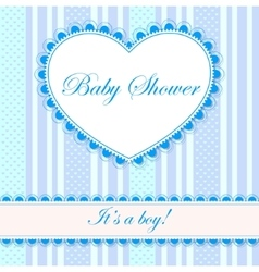 Baby shower with heart banner boy vector
