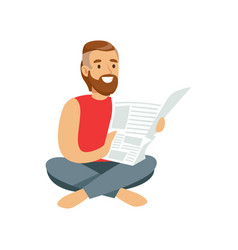 bearded young man sitting on the floor and reading vector image