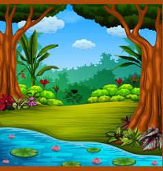 beautiful forest with the lake and lotus vector image