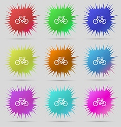 Bicycle icon sign A set of nine original needle vector image
