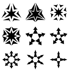 black star arrow symbols vector image