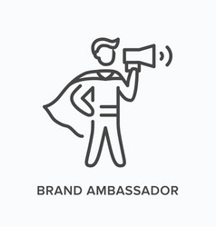 Brand ambassador flat line icon outline vector