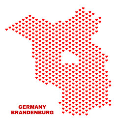 brandenburg land map - mosaic of heart hearts vector image