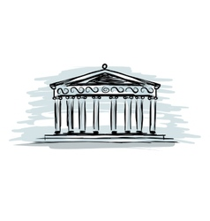 Building with columns sketch for your design vector
