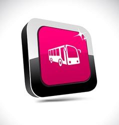 Bus 3d square button vector
