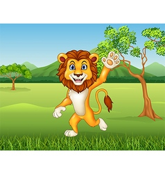 Cartoon funny lion waving on nature background vector
