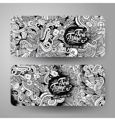 Cartoon line art doodles tea banners vector image