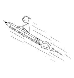 Cartoon man or businessman sitting on pencil vector