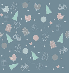 Childish seamless pattern for christmas or happy vector