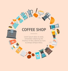 Coffee shop banner card vector