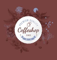 coffeshop round paper emblem over hand sketched vector image