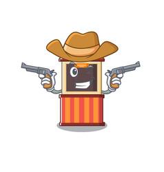 Cowboy ticket booth edge mascot table vector