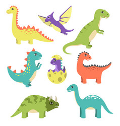Creatures types of dinosaurs vector