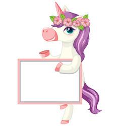 Cute unicorn holding blank banner vector