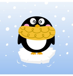 Cute winter penguin on sparkling iceberg vector image