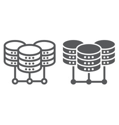 Data center line and glyph icon data vector