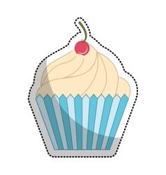delicious sweet cupcake icon vector image