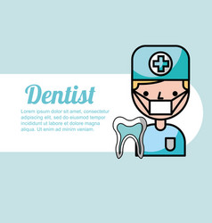 dentist boy portrait cartoon tooth treatment vector image