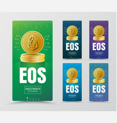 Design of vertical web banners with gold coin of vector