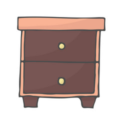 desktop with shelves hand drawn color doodle icon vector image