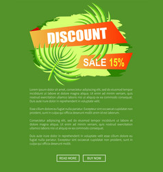 discount with 15 off only at summer promo poster vector image