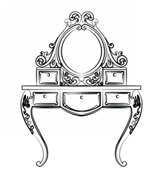Dressing table in round shape with rich ornaments vector