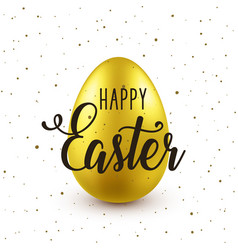 Easter background with realistic golden egg vector