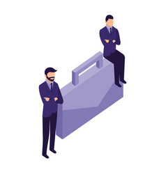 elegant businessmen with portfolio character icon vector image