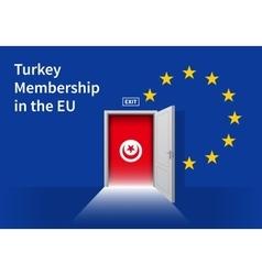 European Union flag wall with Turkey flag door EU vector image