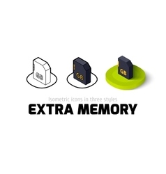 Extra memory icon in different style vector image