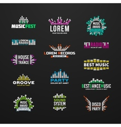 First big set music equalizer emblem vector image