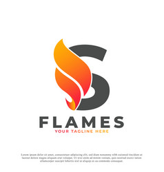 Flame with letter s logo design fire logo template vector