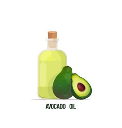 Fresh avocado oil glass bottle and fruits isolated vector