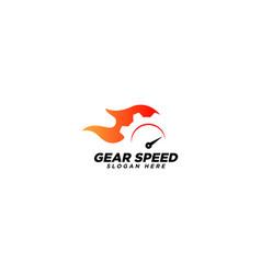 Gear speed logo design template vector