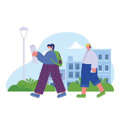 girl reading and boy listening music walking in vector image