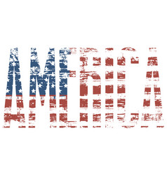 Graphic image of the word america with usa flag vector
