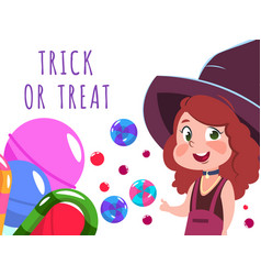 halloween banner with cartoon character witch and vector image