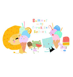 Happy animals eating ice cream and meeting summer vector