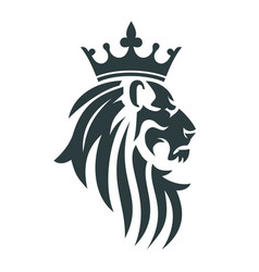 Head a lion with a royal crown vector